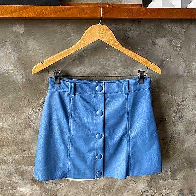 Saia Courino c/ Botões Forrados Azul Jeans