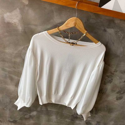 Blusa Tricot Manga Bufante Com Tule Branca