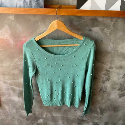 Blusa Modal Pérolas Manga Verde Pistache