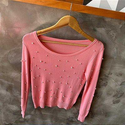 Blusa Modal Pérolas Manga Rosa