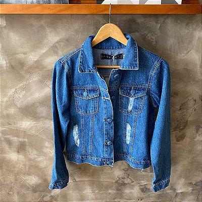 Jaqueta Jeans Escura Botões Forrados