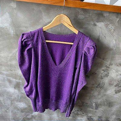 Blusa Tricot Lurex Decote V Purple