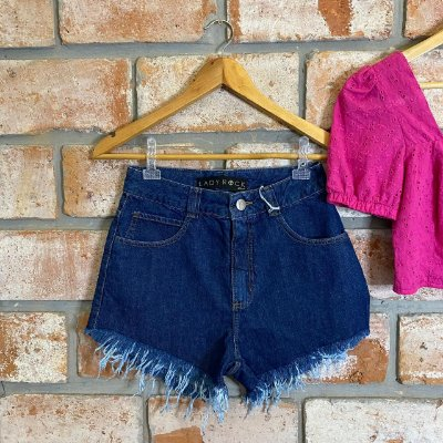 Short Jeans Hot Pant Lavagem Escura Lady Rock