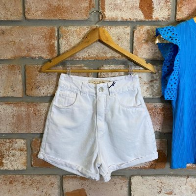 Short Mom Jeans Branco Lady Rock