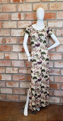 Vestido Longo Malha Floral Claro