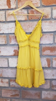 Vestido Alcinha Viscose Mostarda