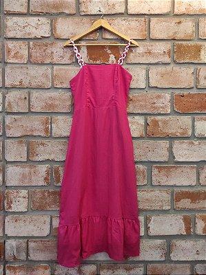 Vestido Midi Linho Pink Viés Branco