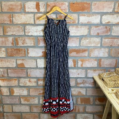 Vestido Longo Elastico Cintura Preto Poa C/ Vermelho
