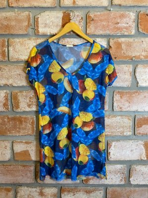 Vestido Curto Tule Estampa Frutas