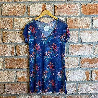 Vestido Curto Tule Estampa Azul Floral