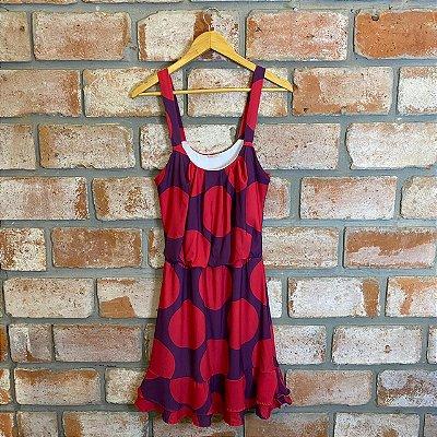 Vestido Alça Elástico Cintura Roxo Poa Rosa