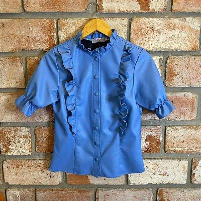 Camisa Courino Babado Azul Céu