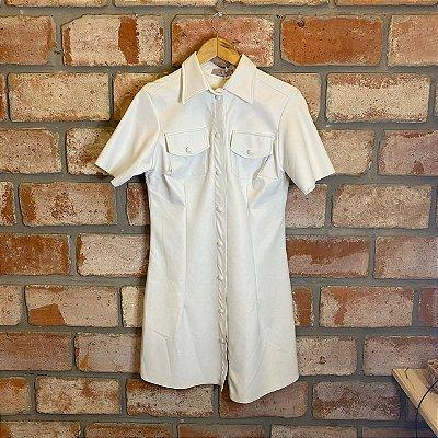 Vestido Courino Botões Forrados Branco