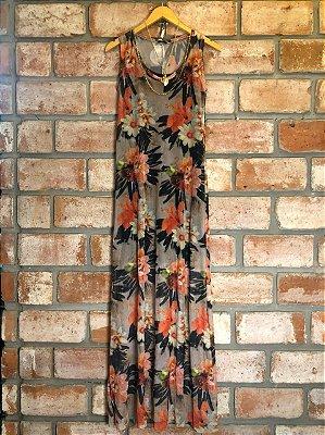 Vestido Longo Tule Estampa com Flores Laranja
