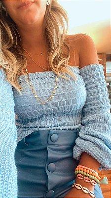 Blusa Ombro a Ombro Tricot Azul