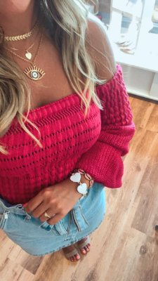 Blusa Ombro a Ombro Tricot Pink