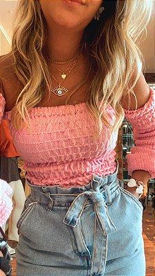 Blusa Ombro a Ombro Tricot Rosa Bebê