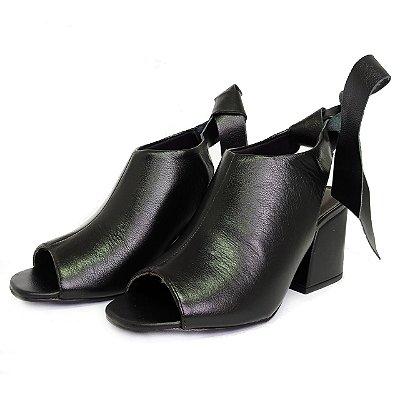 Ankle Boot em Couro Preto Lialine