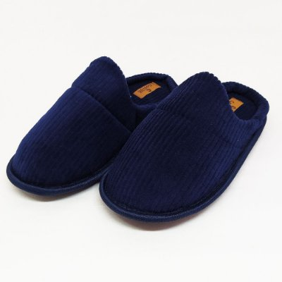 Pantufa Masculina em Veludo Cotele Azul Marinho