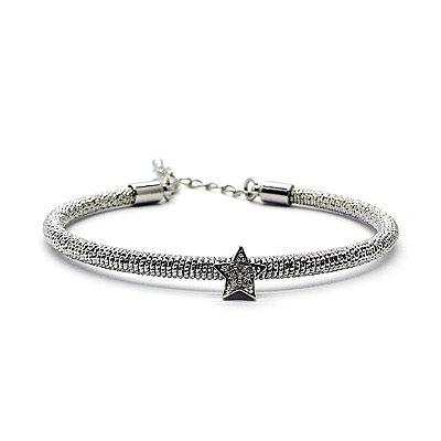 Pulseira estrela tipo bracelete na cor prata