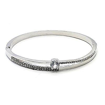 Pulseira tipo bracelete fino cravejada  com zircônia