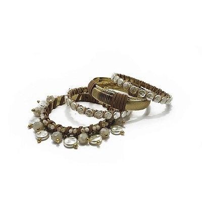 Kit com 4 pulseira pérolas barrocas