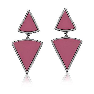 Brinco Vivid Pendente Dois Triângulos Rosa Folheado a Rodio Negro