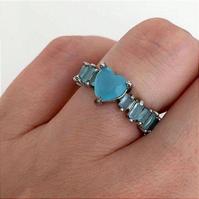 Anel Vivid Coração e aro Navete Cristal Azul