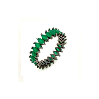 Anel Vivid Navete Cristal Verde Esmeralda