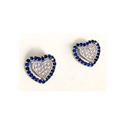 Brinco Vivid Coração Zircônias Azul e Branca Rodio Semi Joia
