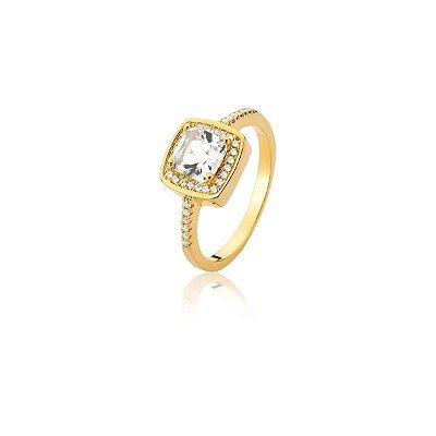 Anel Vivid Cristal Quadrado Branco Folheado a Ouro