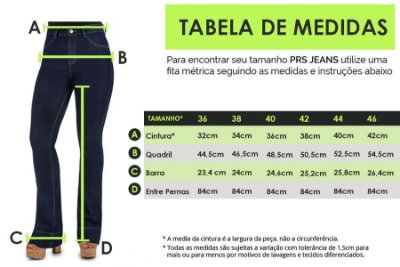 TABELA DE MEDIDAS - FEM. FLARE