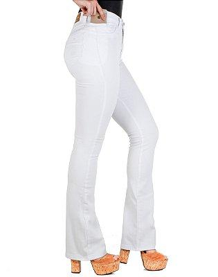 calça sarja prs flare branca