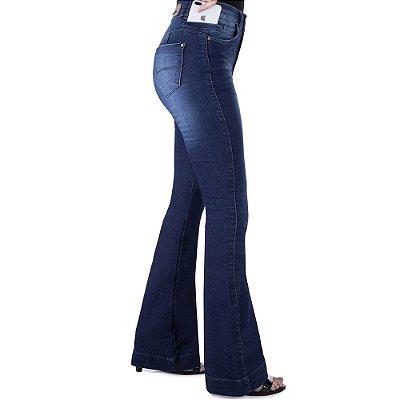calça jeans prs flare seca barriga