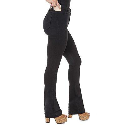 calça sarja prs flare preta