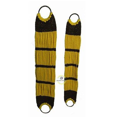 Barrigueira em Lã Torcida Amarela com Marron