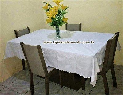 Toalha de Mesa Bordada Ponto Cheio com Ponto Ajú - Retangular 2,10 x 1,60 - Branca