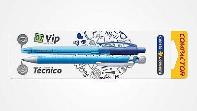 Kit Caneta Esferográfica 07 Vip + Lapiseira Técnico