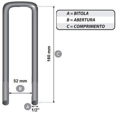 grampo B 1/2 x 52 x 160 mm