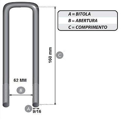 Grampo tipo B 9/16 x 62 x 160 mm Quadrado