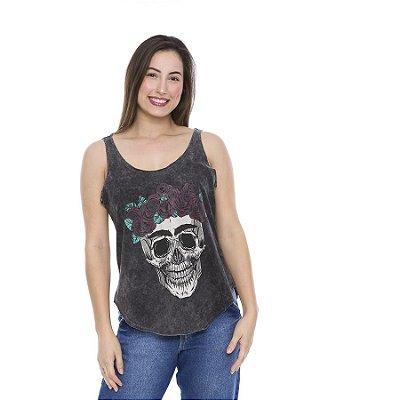 Regata Feminina  Estampada Skull Roses
