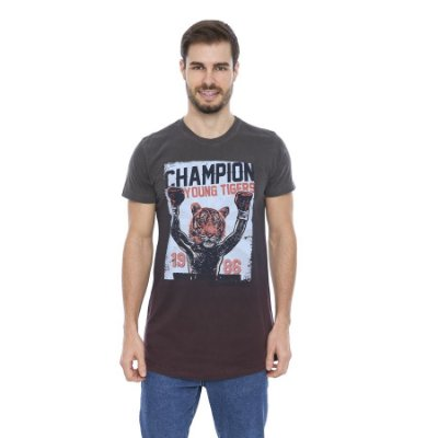 Camiseta Verão Slim Long London Champion Tiger