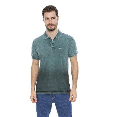 Camisa Pólo Masculina Lavada Spray Degradê Inferior