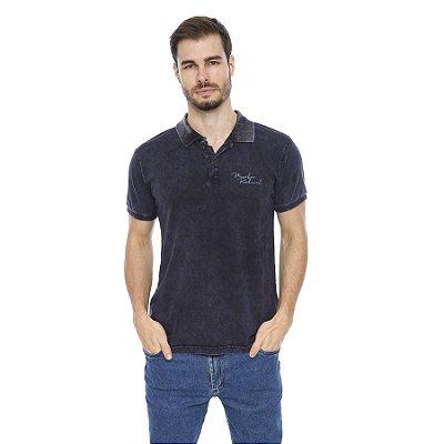 Camisa Pólo Masculina Lavação Marmorizada Com Spray Color