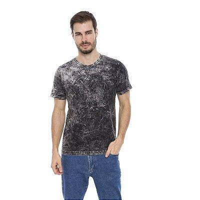 Camiseta Malha Algodão Lavação Marmorizada Estampa Skull