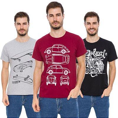 Kit 3 Camisetas Estampadas Maré D Água