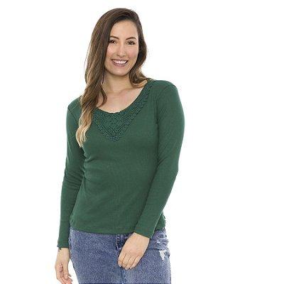 Blusa de Malha com Renda De Algodão no Decote
