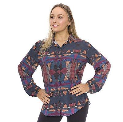 Camisa de Tecido com Botões Estampa Geométrico