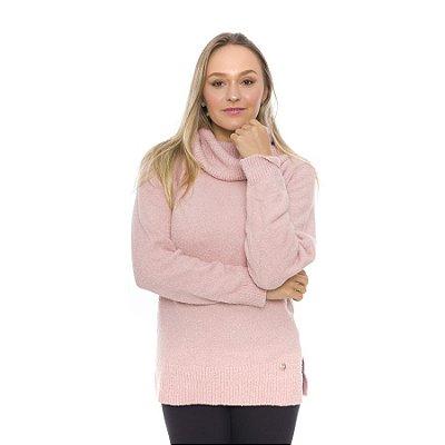 Blusa de Tricot Gola Alta Oversized Rosa Chá
