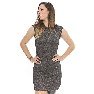 Vestido Básico de Lurex Preto